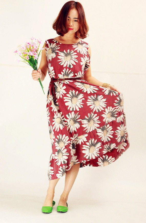 2018 Summer Dress red daisy linen dresses oversized cotton dress plus size  floral sleeveless beach casual holiday clothing long maxi dress