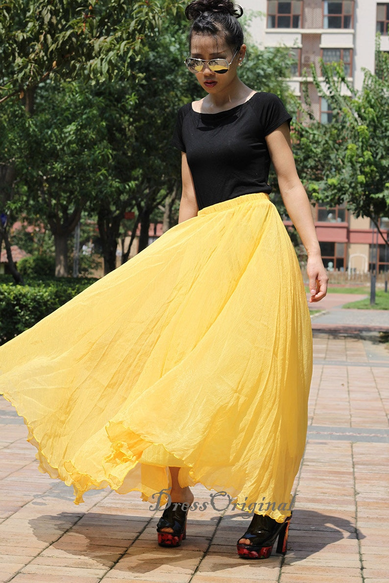 0b76bc2c4 Custom made Yellow Chiffon skirt Maxi Skirt Long Skirt Maxi | Etsy