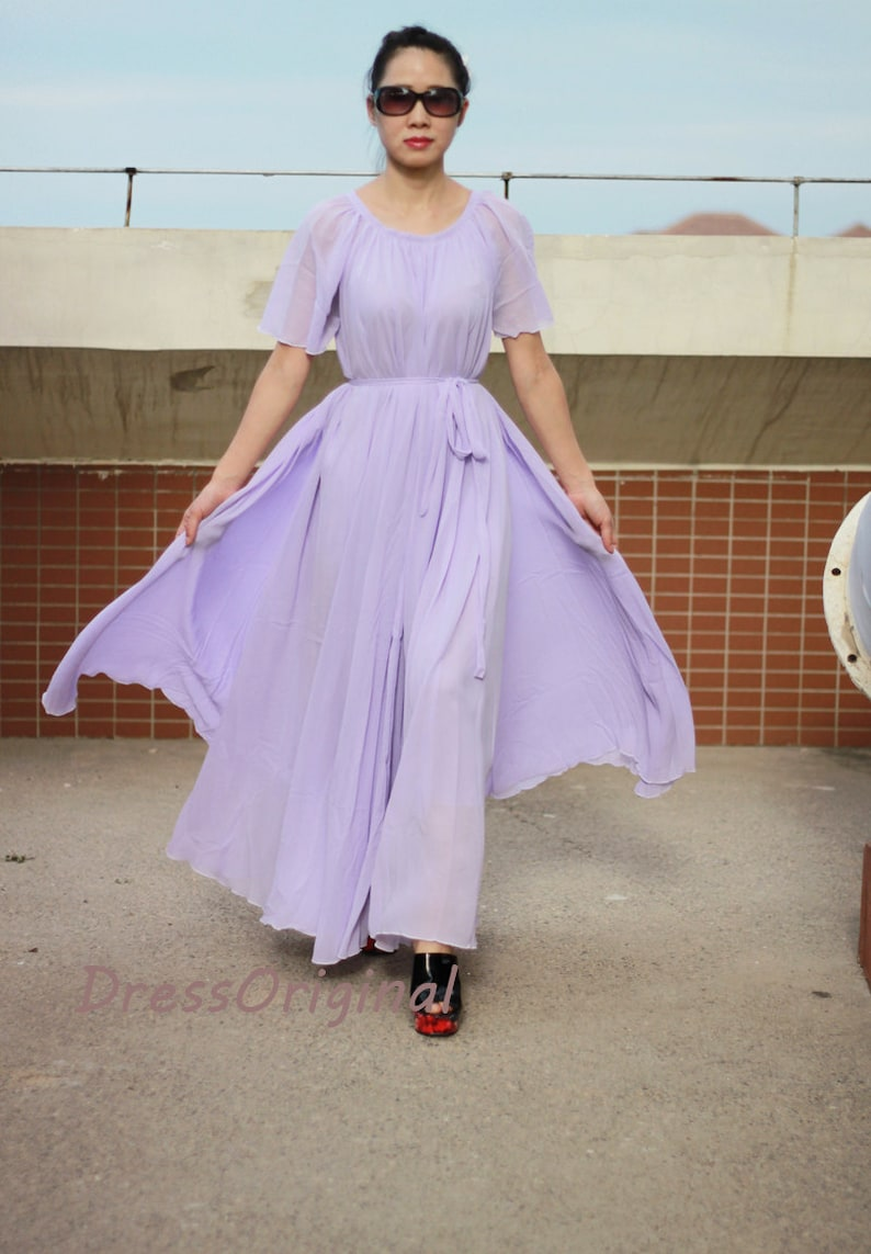 Lavender chiffon maxi dress, long chiffon dress, Lavender bridesmaid dress,  plus size dresses,evening dress
