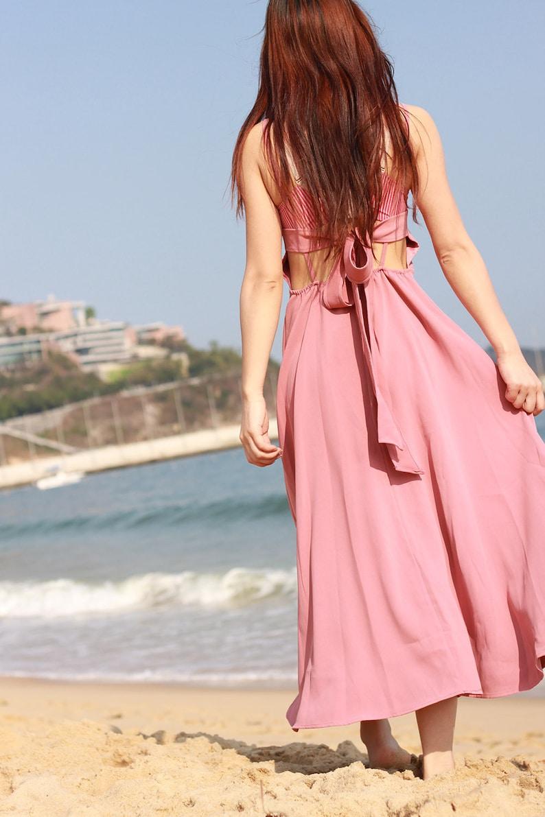 0677d31050 Pink sundress long back tie summer maxi dress sexy beach dress
