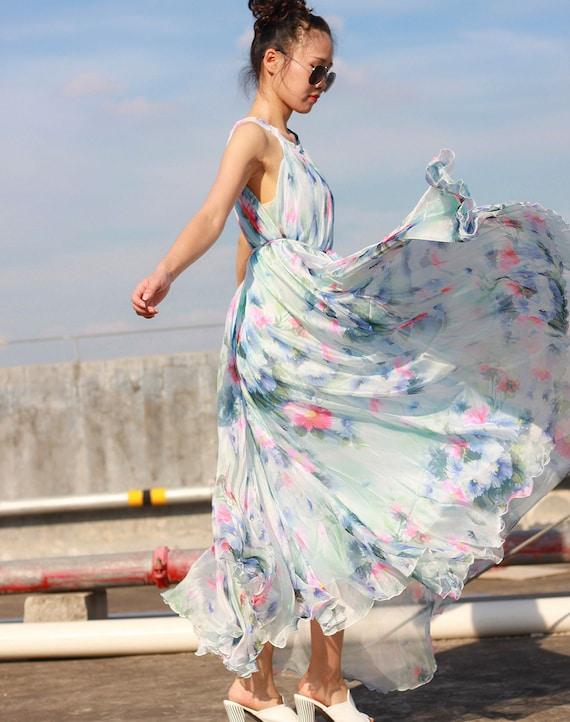 White blue summer dress boho plus size maxi dress floral sundress beach  bridesmaid dress graduation dresses custom made 12 colors