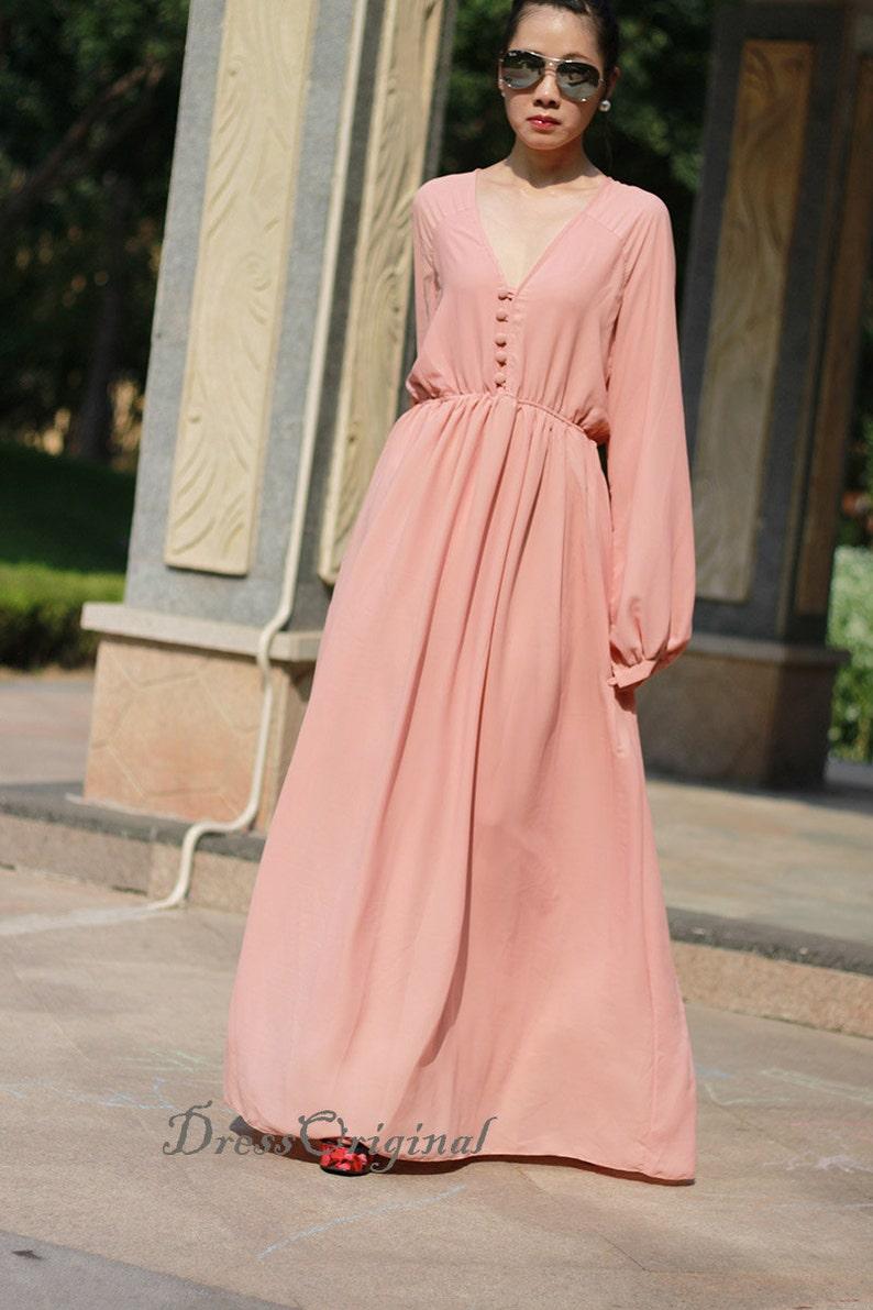 66b4a42c8f1c Champagne maxi dress long sleeved maxi dresses chiffon dress   Etsy
