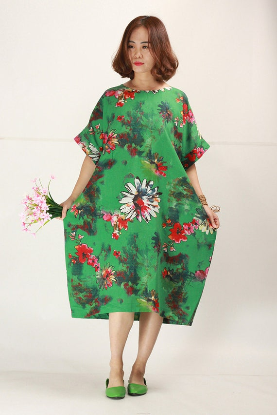 The summer Jade Green floral linen dress plus size sundress baggy cotton  dresses casual oversize caftans