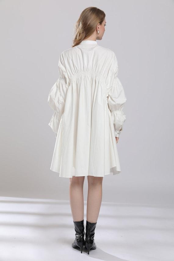 Drawstring white shirt dress puff sleeves shift dress oversize white dress  blouses plus size dresses stylish white shirts tops custom made