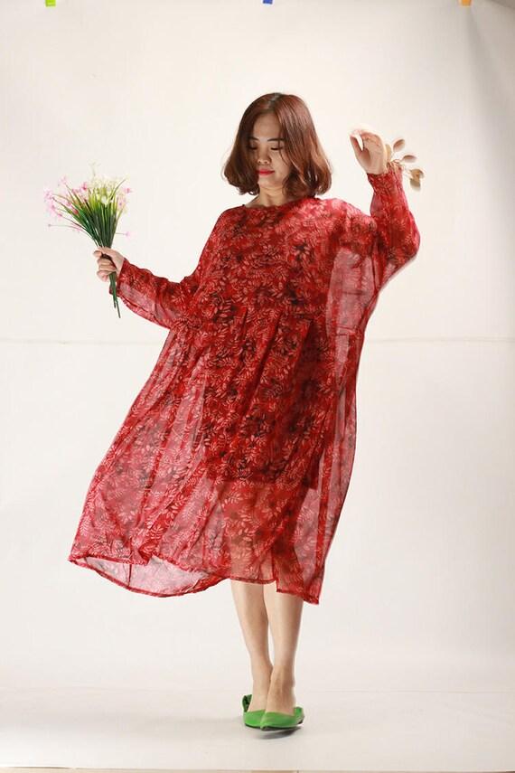Ruby Red Floral Chiffon Dress Oversize Pleated Sundress Beach Etsy