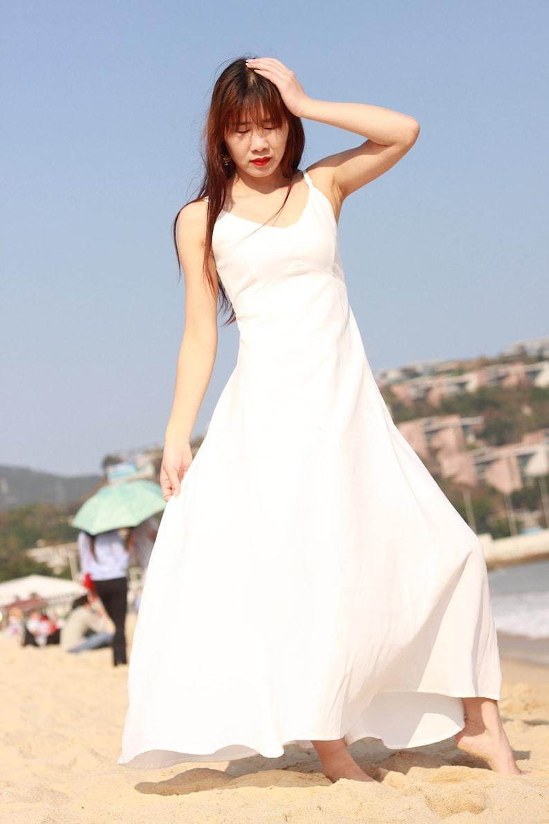 ac79a50eaaa1 Spaghetti strap white maxi dress V neck sundress tunic | Etsy