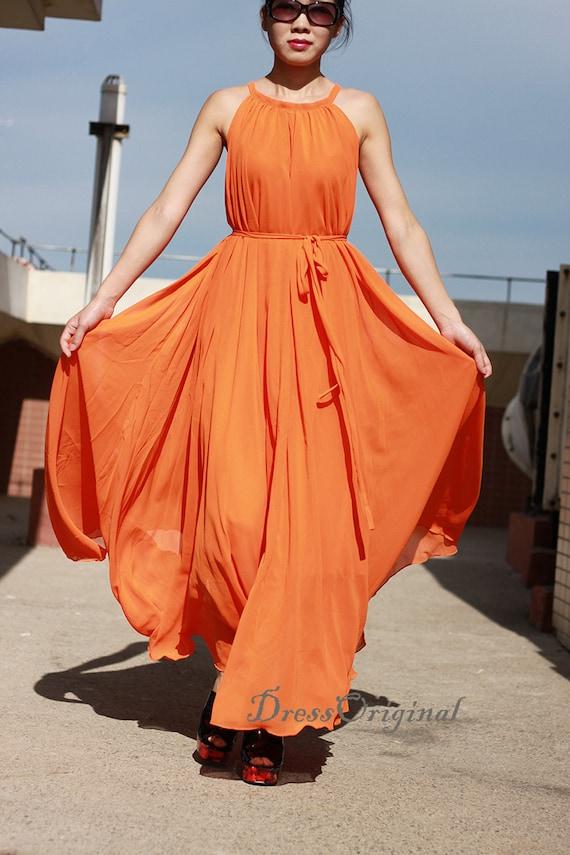 Maxi dress,Long dress, orange chiffon dress, orange summer dress,plus size  dress
