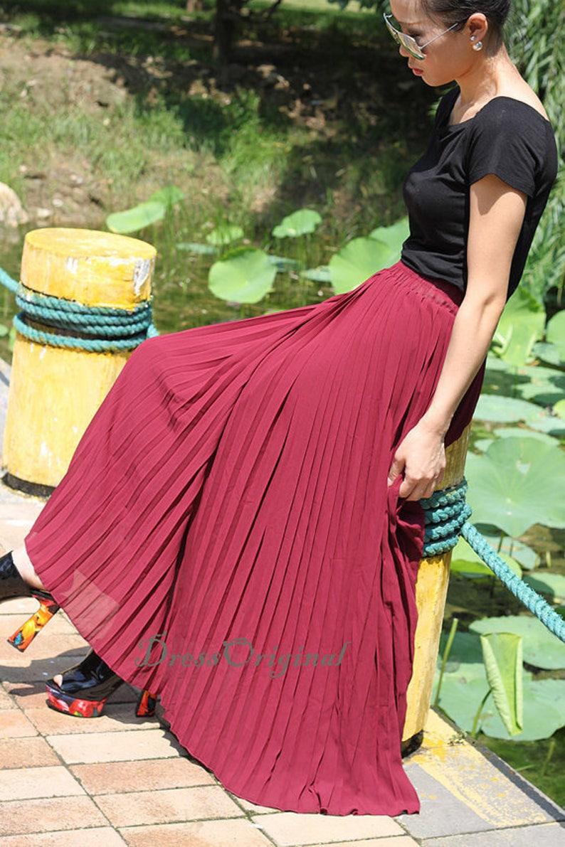 061c582a0072f Top quality Nude Pleated skirt Maxi Skirt Long Skirt custom | Etsy