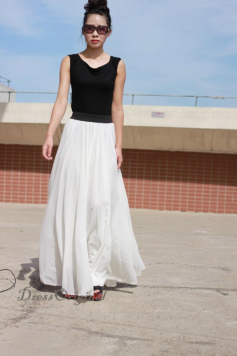 Świeże Biała spódnica Maxi spódnica długości podłogi dwuwarstwowa   Etsy RH68