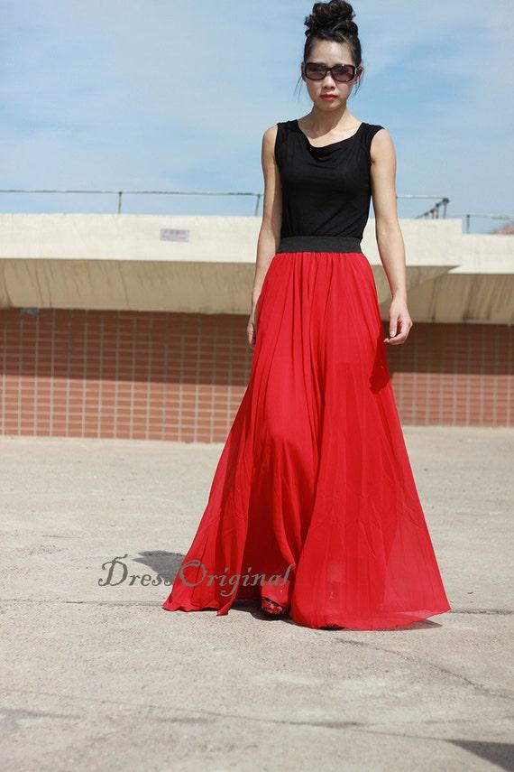 8b9ceada02be Jupe longue jupe rouge Maxi rouge Double couche jupe en