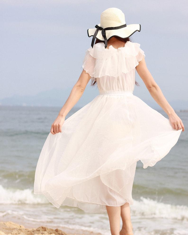 8289171caea0 White maxi dress white beach dress chic chiffon sundress | Etsy