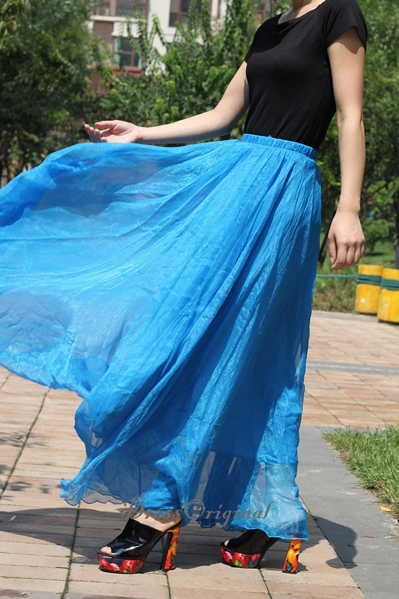 059fbf47e6d08 Royal blue skirt plus size holiday skirts Chiffon skirt long