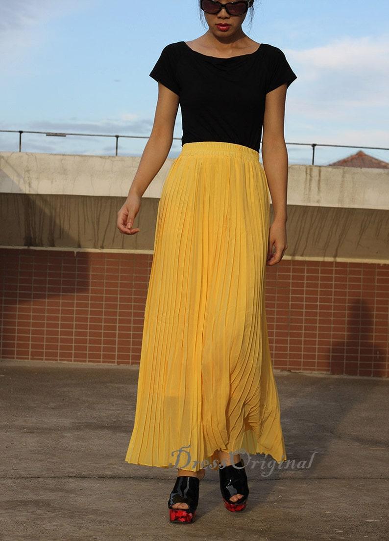 105c4746280ff9 Gele rok Pleated skirt Maxi rok full Skirt aangepaste