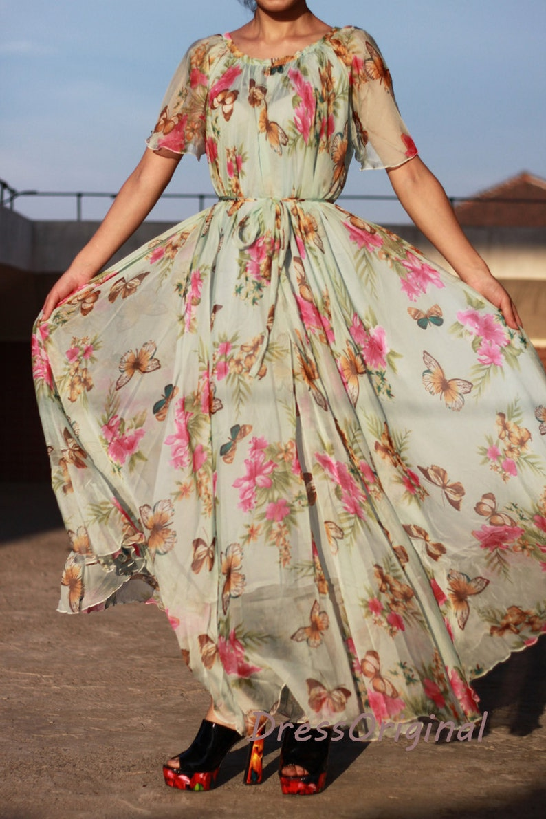 ec217774e19 Light blue floral print maxi dress with flowing short sleeves