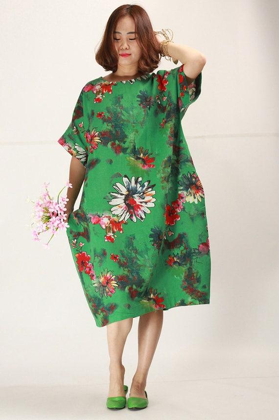 The summer Jade Green floral linen dress plus size sundress baggy cotton  dresses casual oversize caftans