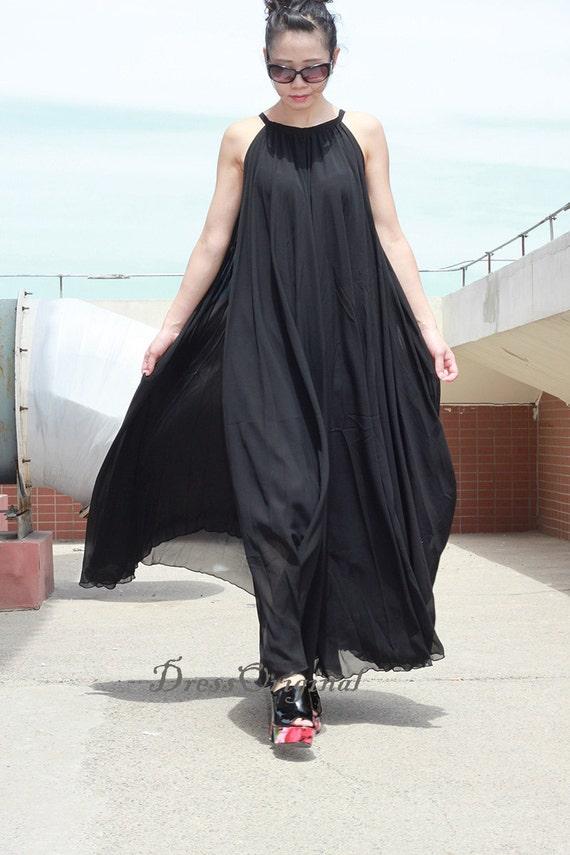 Black Maxi dress, black summer dress, Custom dress, plus size dress, balck  tunic dress,black chiffon dress,graduation dress, evening dress