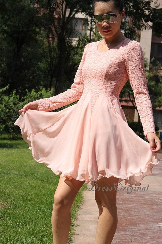 Pink Lace Dresssummer Lace Dress Pink Lace Chiffon Dress Etsy