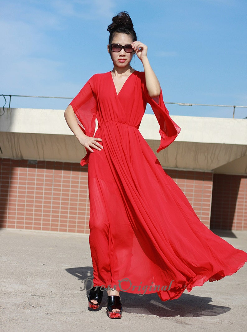 Red Maxi Dress Red Loose Dress Red Holiday Dress Red Party Dress Wedding Dress Flowing Sleeve Maxi Dresses