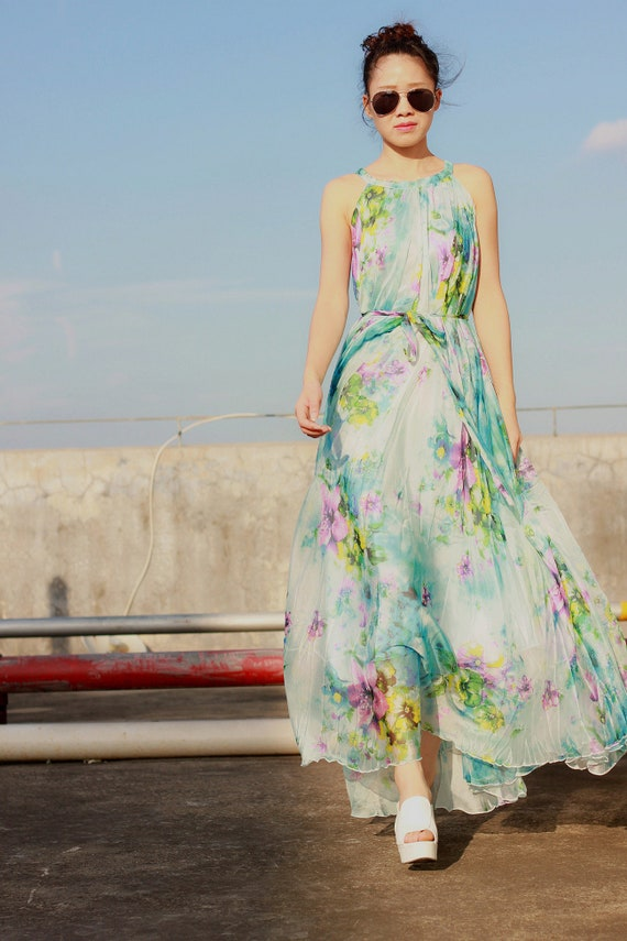 New lake green floral chiffon dresses plus size summer maxi dress tunic  evening dresses with a belt sleeveless sundress long party dresses