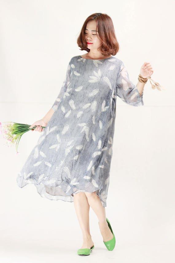 2018 Gray flowy feather dotted chiffon dresses plus size summer dress  oversize beach dresses maternity holiday clothing