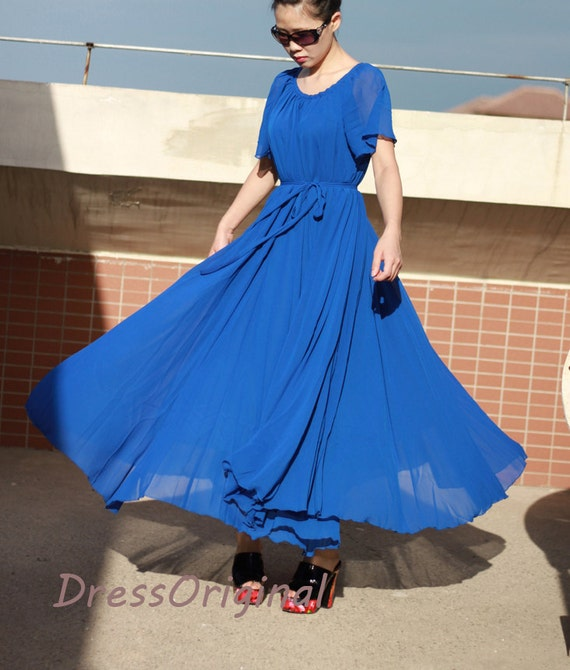 Royal blue maxi dress, royal blue chiffon dress, bridesmaid dress, plus  size dresses,evening dress, long summer dress
