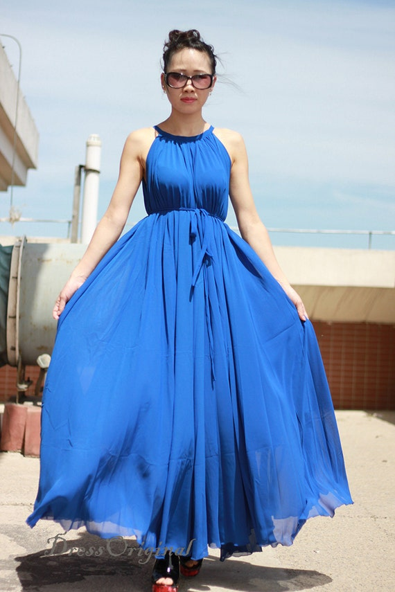 Royal Blue maxi dress chiffon dress long dress Plus Size Summer Dress