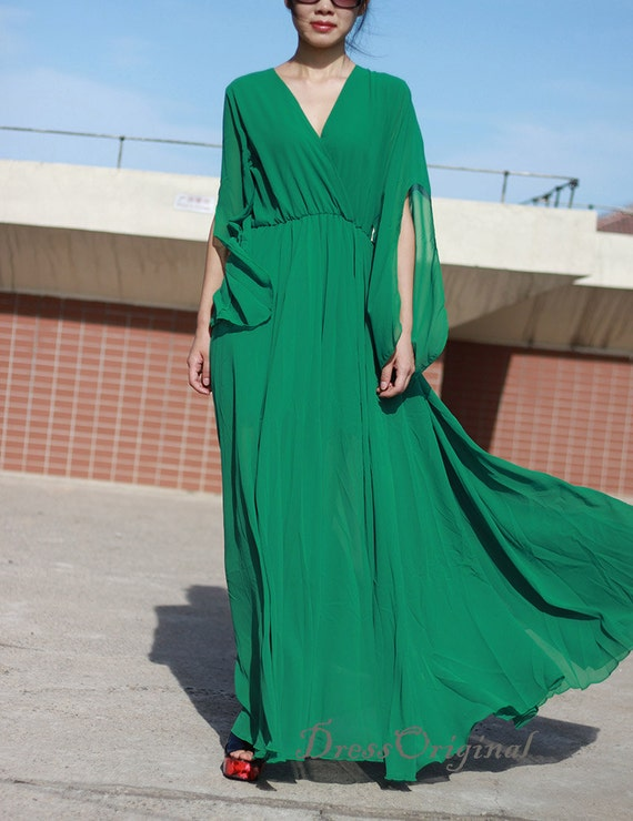shoes for cheap clear-cut texture latest collection Emerald Green maxi dress, flowing sleeve dress, Emerald Green long dress,  long sundress, holiday dress, green party dress