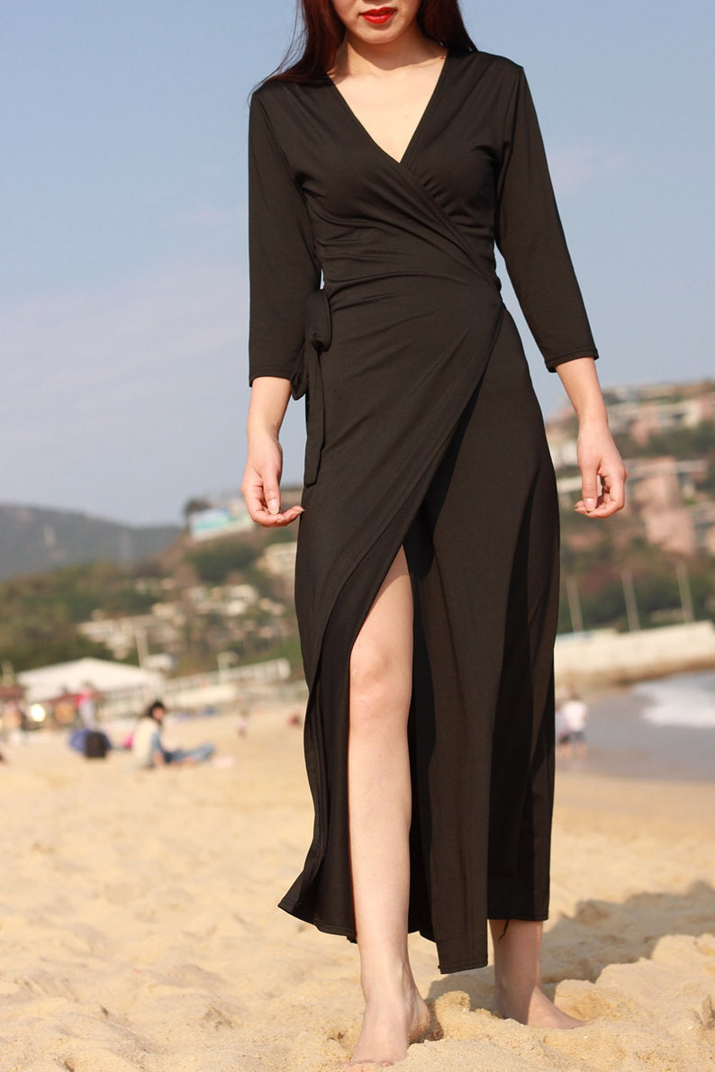 da7196b63b1 Black dress V neck long maxi dress cotton tunic summer dresses