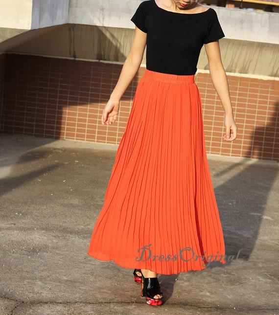 534f6c3b910534 Topkwaliteit oranje rok Pleated skirt Maxi rok lange rok