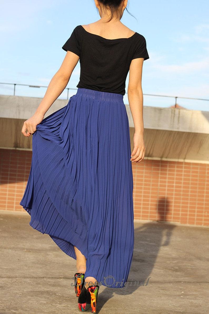 845eb3e1f Top quality Maxi Skirt Royal blue Pleated skirt Long Skirt | Etsy