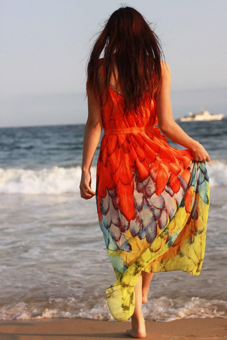 d54372544c9e Orange peacock dress floral sundress plus size maxi dresses | Etsy