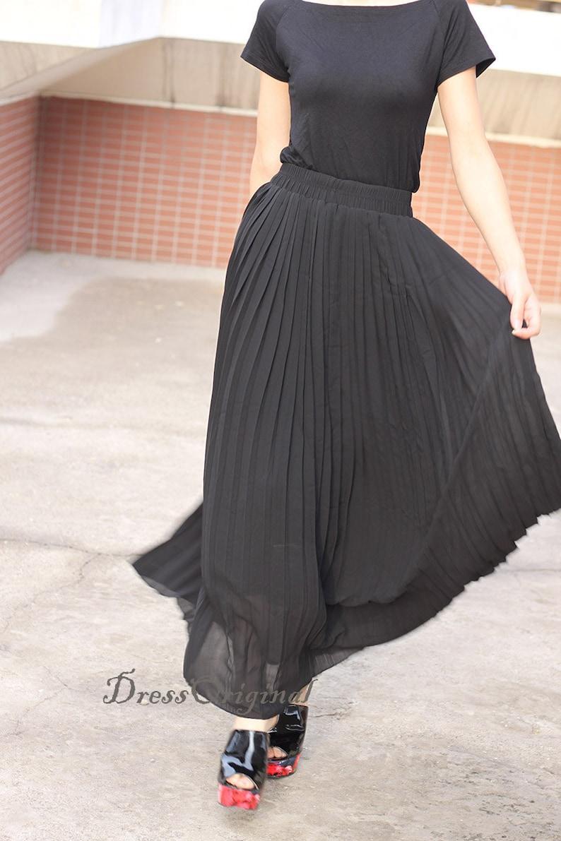 e5feaa100 Top quality Black Pleated skirt Maxi Skirt Long Skirt short | Etsy