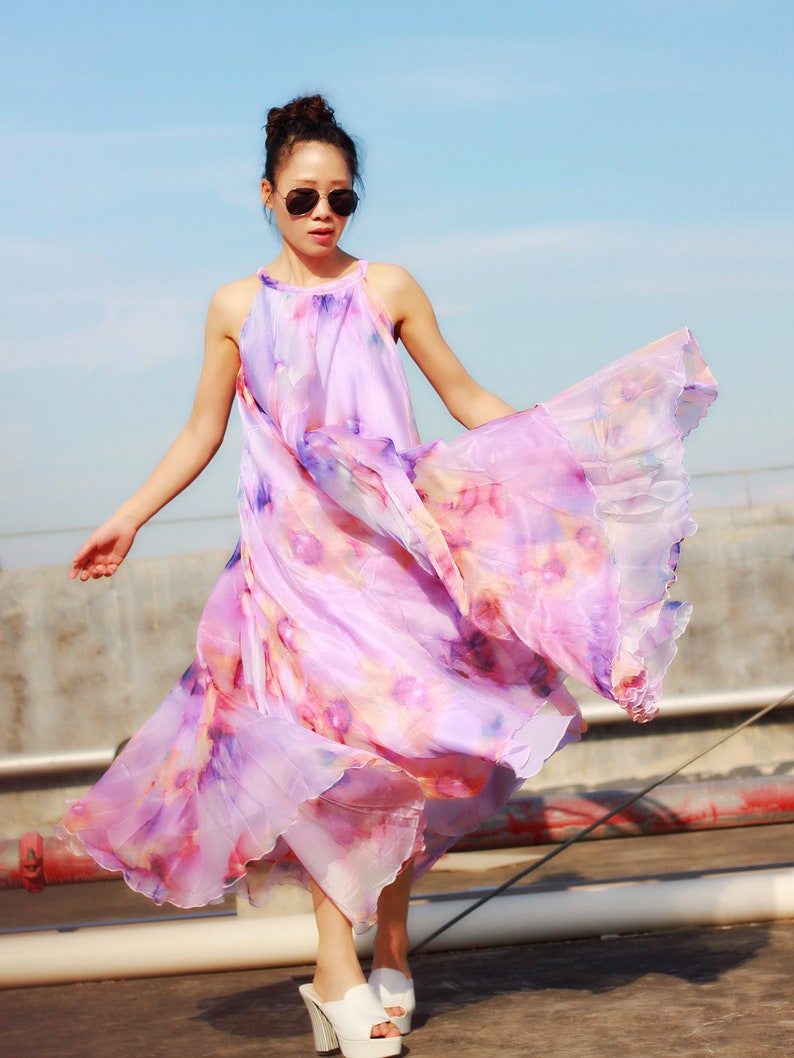 ae034839395 Elegant lavender floral maxi dress plus size summer dresses