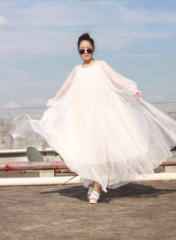 50 colors White maxi dress plus size summer dresses long sleeve beach dress  maxi dress bridesmaid dress chiffon beach dress custom made
