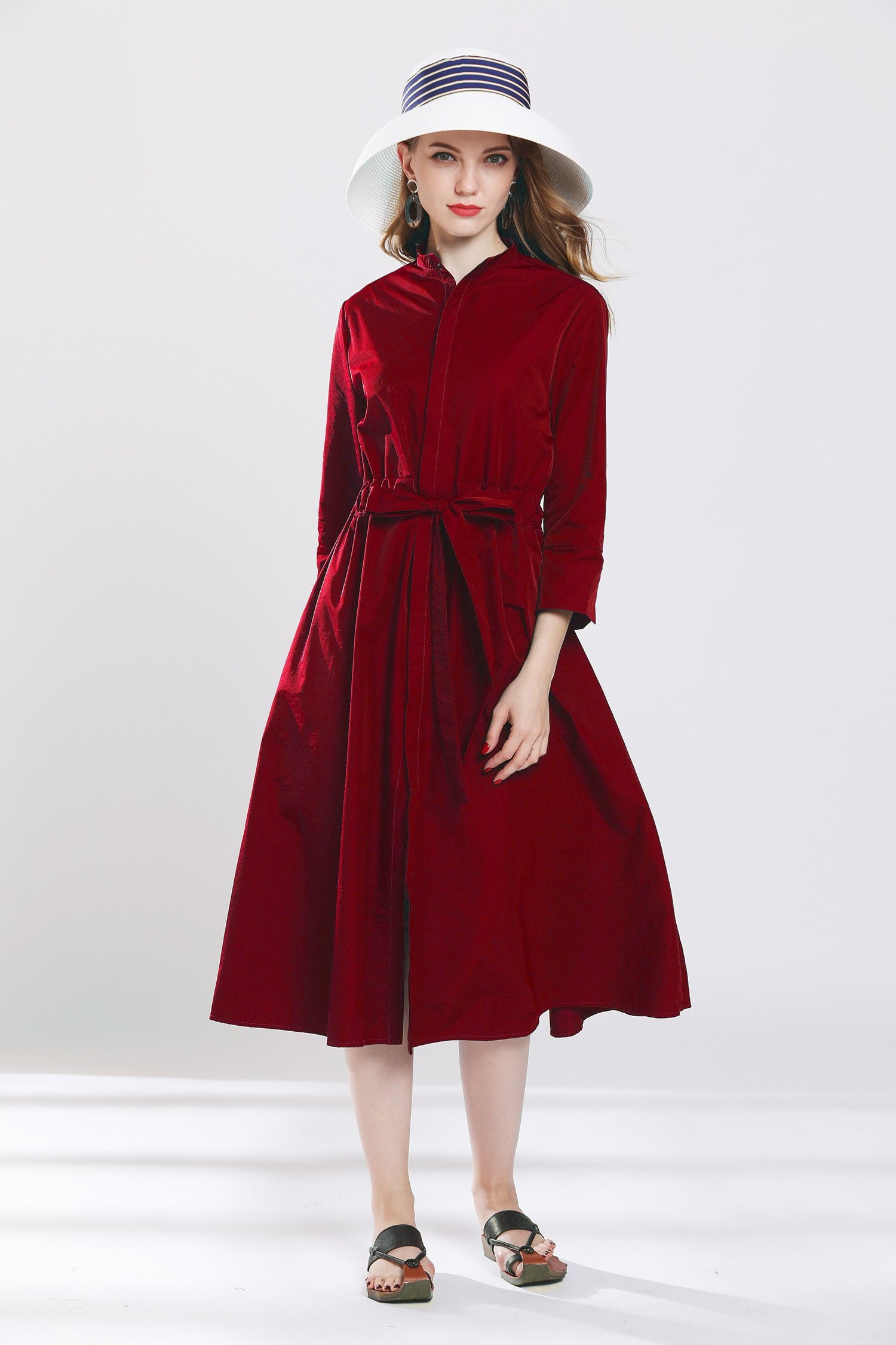 Burgundy trench coat plus size dress tunic spring coats oversize drawstring  jackets burgundy outwear custom made wind breaker dust coat