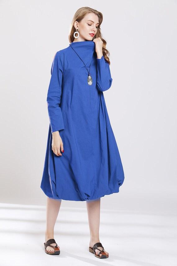 Blue bubble dresses oversize winter dresses turtle neck warm plus size  casual cotton dress fashion winter outfits custom made 3 colors