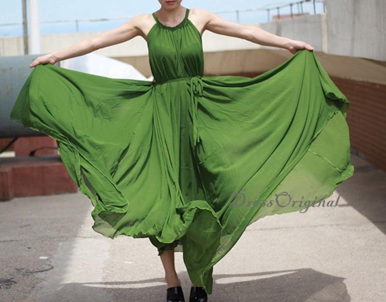 d0a73e654 Grass green Maxi dress summer dress Custom dress plus size