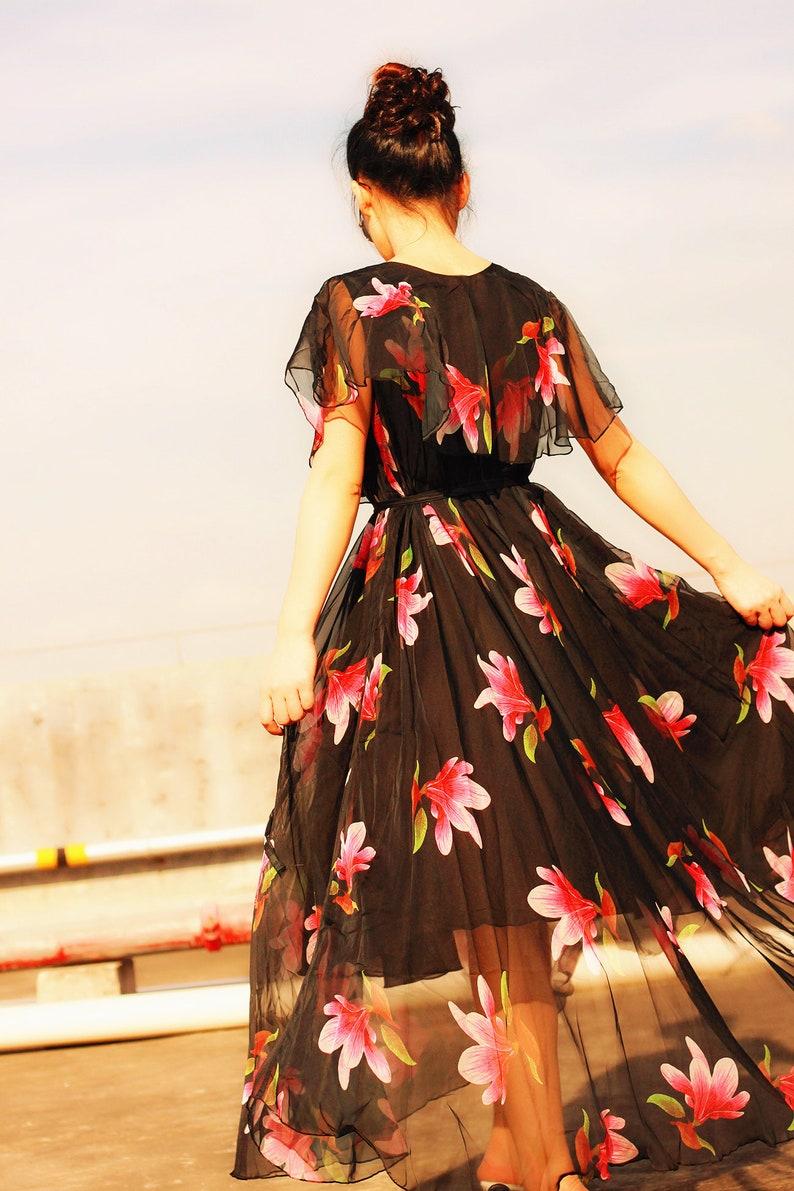 d8f87cc6b88 2018 black floral cape shoulder maxi dress elegant summer