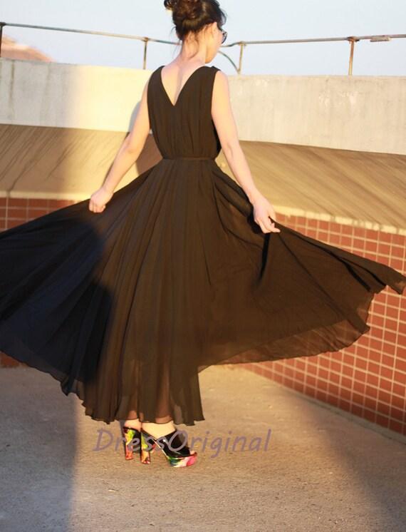 Black chiffon dress maxi dress long dress plus size dress sundress summer  dresses Evening dress tunic dress party dress chiffon skirt