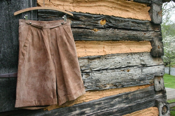 1970's Tan Suede Shorts.  Hipster Knickers. Boho S