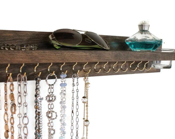 Necklace Hanger Shelf & Glass Jar -  Necklace Display -  Necklace Organizer - Necklace Hanger - Necklace Shelf (wall mounted)