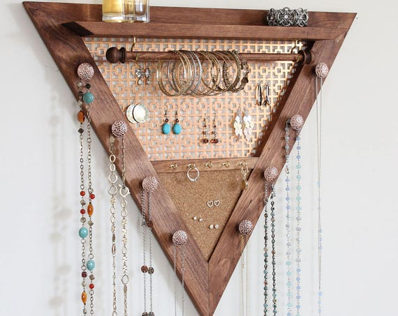 Triangle Jewelry Organizer - Wooden Wall Hanging Jewelry Organizer