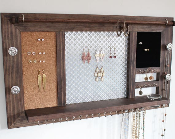 Deluxe Wooden Wall Hanging Jewelry Organizer Display
