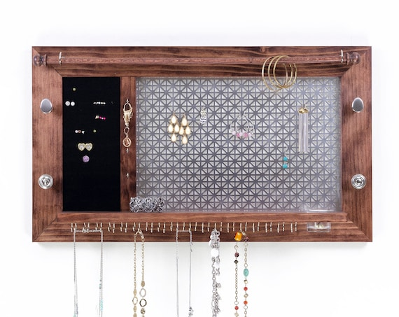 Jewelry Organizer - Wooden Wall Hanging Jewelry Shelf