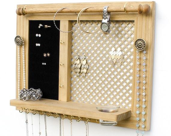 Jewelry Holder - Wooden Wall Hanging Jewelry Organizer // Jewelry Display // Jewelry Rack