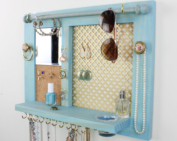 Jewelry Organizer - Wood Wall Hanging Jewelry Display with Shelf, Storage for Earrings Bracelets Necklaces and Rings