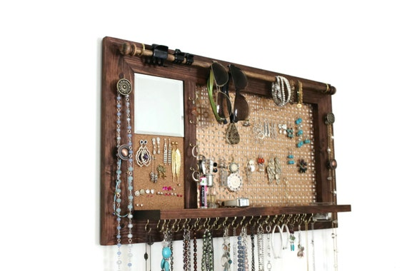 Ultimate All-in-One Jewelry Organizer - Wooden Wall Hanging Jewelry Shelf with Mirror