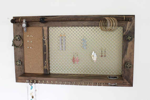 Ultimate Jewelry Holder // Jewelry Shelf // Wall Mounted Jewelry Organizer //  Jewelry Display // Wall Hanging Jewelry Board