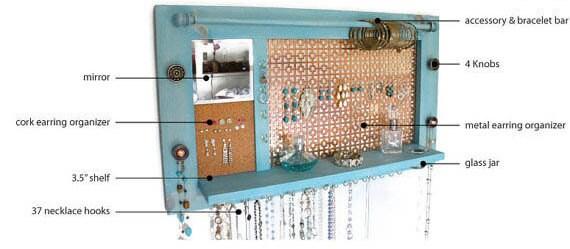 Jewelry Organizer - Wall hanging jewelry shelf display and mirror