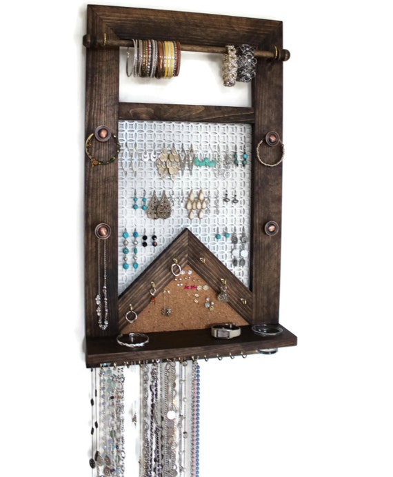 Verti All-in-One Jewelry Organizer - Wooden Wall Hanging Jewelry Shelf